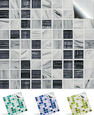 Marble Mosaic Tile Sticker Transfer Decal - 11 Colours Kitchen Bathroom DIY TP12