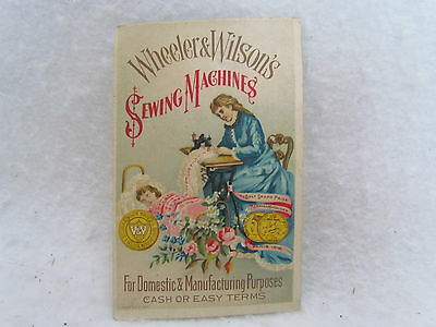 Vintage Victorian Trading Card: Wheeler & Wilson's Sewing Machines, Philadelphia
