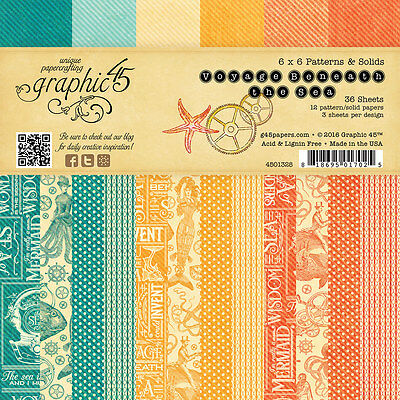 Graphic45 VOYAGE BENEATH THE SEA 6x6 PAPER PAD scrapbooking (36) Patterns/Solids