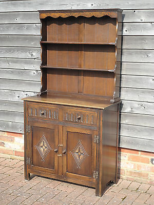 Antique Style Carved Oak Jaycee Dresser With Plate Rack/drawers & Cupboard