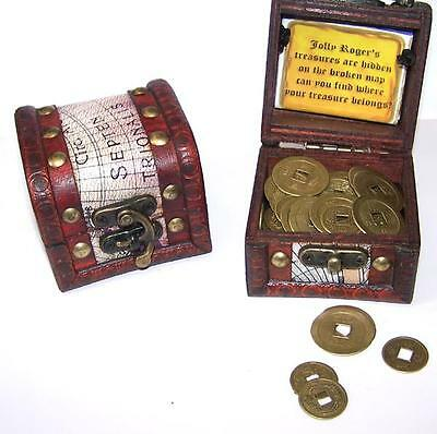 COIN FILLED PIRATES TREASURE CHEST kids novelty pirate chests metal coins NEW