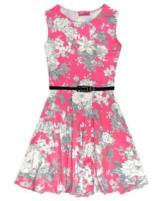 Girls Kids Pink Skater Dress Floral Print Summer Party Belt New Sizes 7-13 Years