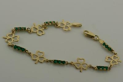 14K Yellow Gold Irish Shamrock/Claddagh Link Bracelet with Natural Green Onyx