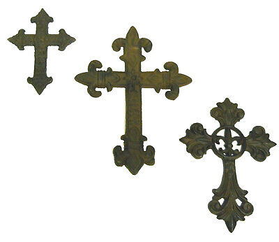 3pc Cast Iron Crosses wall hanging collection decor gothic medieval