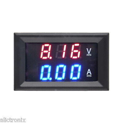 DC  Dual Digital  100V  Voltmeter 10A Ammeter Blue Red LED Amp