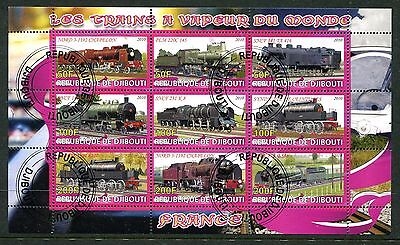 Djibouti 2010 Trains Railways Locomotives  9v MS Used cto
