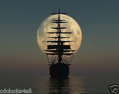 Old Pirate Ship By Moonlight 11 x 14 / 11x14 GLOSSY Photo Picture