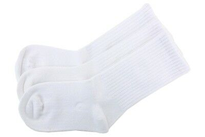 Stride Rite Little Boy 3-Pairs White Comfort Seam Crew Socks Sz 7-8.5 Fits 10-13