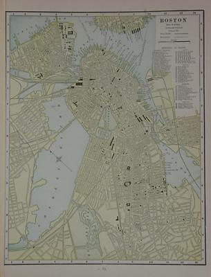 1891 Boston, Ma. Original Color Atlas Map** Several pts. of interest.125 yrs-old