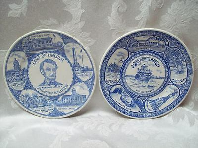 Lincoln & Mayflower Ship 7-1/4'' FAIRWAY Japan Tomb State Capitol Blue Plate