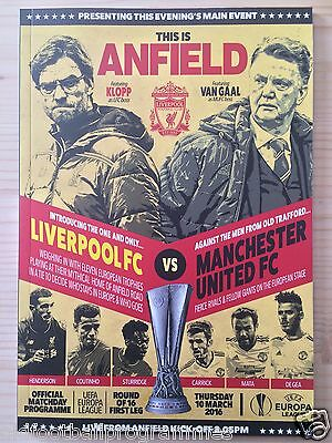 Liverpool V Manchester United (10/03/2016) *europa League Football Programme*