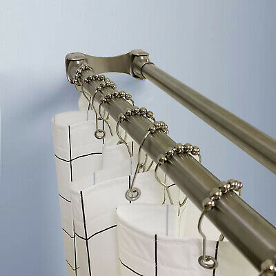 Naiture Brass Straight Double Shower Curtain Rod In 5 Sizes And 4 Finishes