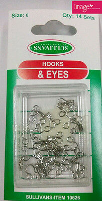 Set of 14 Hooks and Eyes Silver Size 0 Top Skirts Pants Jackets KD30626