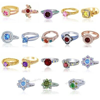 Multi-Color Disney Princess Engagement & Wedding Ring in 925 Sterling Silver