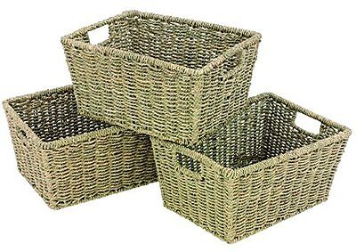 NEW WoodLuv Seagrass Storage Shelf Basket with Insert Handles  Set of 3