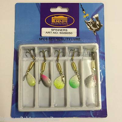 5pc Spinners Fishing Lures Set 3.5g Lineaeffe Pike Trout Spoons 5026050