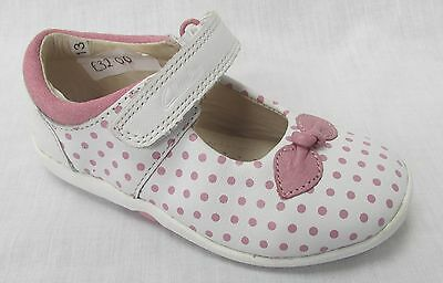 BNIB Clarks Girls Softly Dotty White Leather First Shoes E/F/G/H Fitting