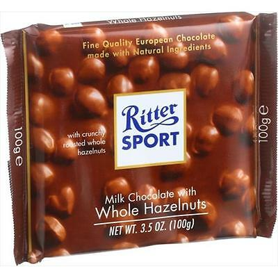 Ritter 3.5 Ounce Sport Chocolate Bar Milk Chocolate Whole Hazelnuts, Case Of 10
