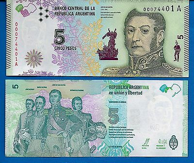 Argentina Five Pesos Year 2015 Uncirculated Banknote FREE SHIPPING