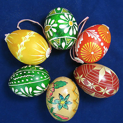 Vintage Hand-painted Easter Eggs, Six from Czechoslovakia - Beautiful!