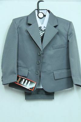 BOYS KIDS 5 PIECE FORMAL SUIT BLACK OR GREY IDEAL FOR WEDDING 6MTHS -16 vYEARS
