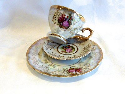 Magnificent Fine China Lustreware Trio  Cup Saucer  & Plate Japan C 1950's.