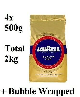 4x Lavazza Qualita Oro Coffee Beans 500g (Total 2kg) + Coffee is Bubble Wrapped