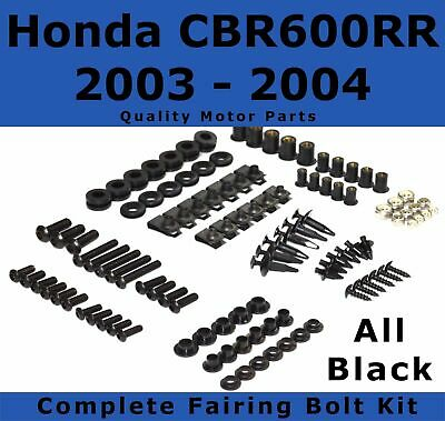 Complete Black Fairing Bolt Kit body screws for Honda CBR 600 RR 2003 - 2004