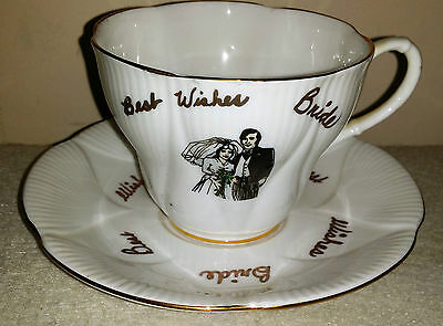 Royal Albert Bone China Coronet Cup And Saucer England Best Wishes Bride