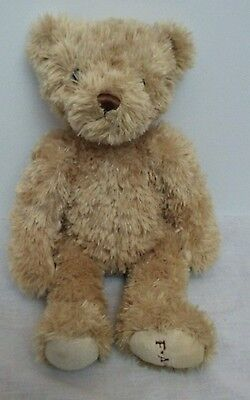 "FAO Schwarz 14"" Teddy Bear Brown Tan Plush Stuffed Animal Embroidered Foot"