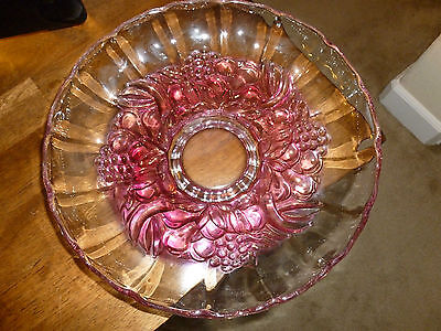 Amethyst Glass Bowl - Fruit Motif - scalloped edging - Footed - Beautiful