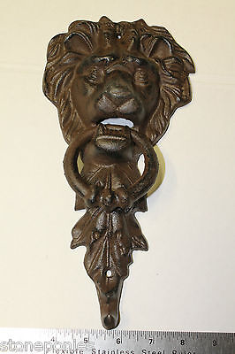 New Lion's Head With Leaves Door Knocker Cast Iron Rustic Decor