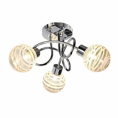 Modern Polished Chrome 3 Way Spiral Ceiling Light Fitting Chandelier Glass Shade