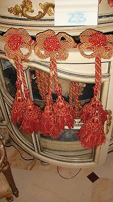 GORGEOUS FRENCH ANTIQUE SET OF 3 CURTAIN TIEBACKS with 6 TASSELS