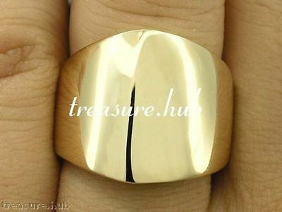 R051 Genuine 9ct SOLID Yellow Gold Edgy Designed WIDE & HEAVY Band Ring size N