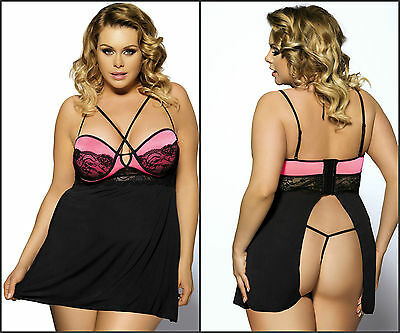 New Plus Size Underwired Padded Bra Lace Black Pink Babydoll G-string Sz s-7xl