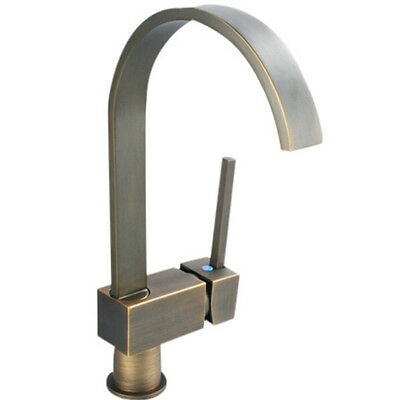 3High Quality Antique Square Hot/Cold Water Tap Basin Sink Kitchen Faucet