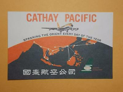 "Hong Kong 1950's ""Cathay Pacific Airways Ltd."" Luggage Label Rare (9a)"