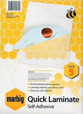 Marbig Laminating Sheets Quick Laminate 5 Pack