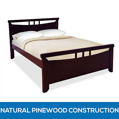 Solid Pine Timber Double Wooden Bed Frame with Slats Deluxe Bedroom Furniture