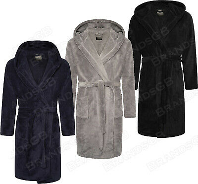 Mens Soft&Cozy Hooded Fleece Dressing Gown Bathrobe Robe Sizes M - 5Xl