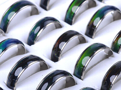 30Pcs Lot Wholesale Jewelery Bulk Mixed Change Color Silver Plated Mood Rings NE