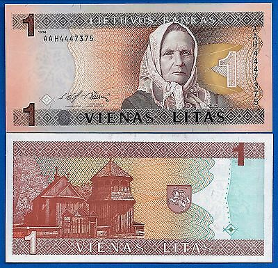 Lithuania P-53 One Litas Year 1994 Uncirculated Banknote FREE SHIPPING