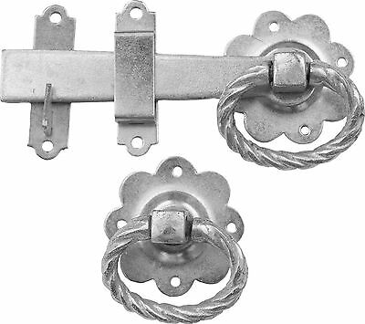TWISTED Ring Gate SHED CATCH BLACK LARGE GARDEN GATE LATCH D21