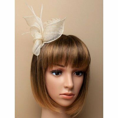 Ivory Feather Fascinator Ladies Day Royal Ascot Races Wedding Headband 5