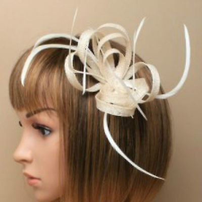 Cream Clip Feather Fascinator Ladies Day Royal Ascot Races Wedding Hair Clip 1