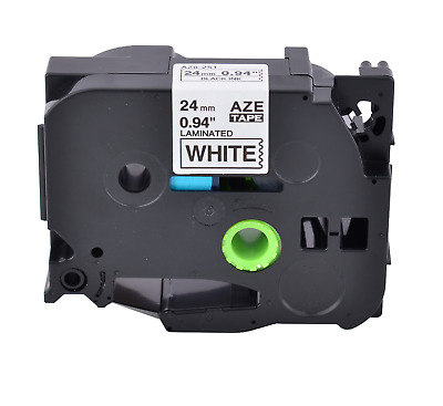 1PK 24mm Tz 251 TZe251 Black on White Label Tape For Brother P-touch  PT-P700