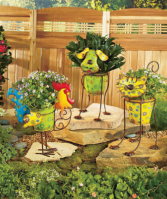 Colorful Metal Garden Animal Planters Dog Cat Rooster Yard Patio Deck Decor Gift