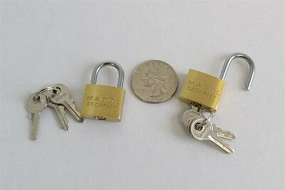 Lot of 2x Madol Security Brass 20mm Padlock Mini Tiny Zipper Box Lock w/ 3 Keys