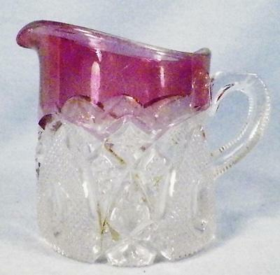 New Hampshire Creamer US Glass Early American Pattern 15084 State Series Blush